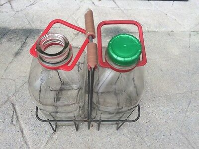 Vintage Wire Milk Bottle Carrier With 2 Glass 1/2 Half Gallon Bottles Handle Lot