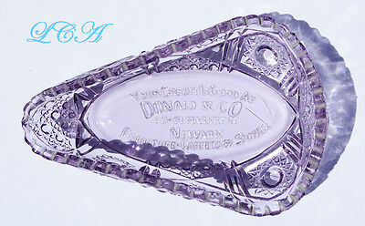 Antique DONALD & CO Market Street - NEWARK ornate AMETHYST GLASS candy dish