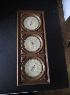 Vintage Springfield 18 Inch Weather Station Barometer Thermometer Humidity 488