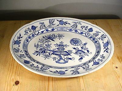 """Grimwades """"Carro"""" Huge Blue & White Meat Platter 18 Inches"""