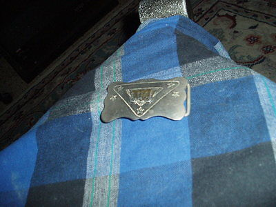 Vintage Chambers Belt Co. Nickle Silver WESTERN BELT BUCKLE W/ Covered Wagon VG!