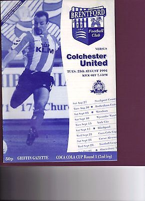 Brentford v Colchester United 1994/95 Coca Cola Cup round 1 2nd leg