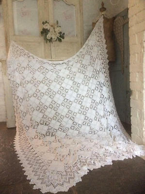 ~*Beautiful Vintage French Crochet Lace Bed Cover/Throw/Tablecloth*~