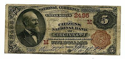 C8357- 1882 $5 Brown Back National- The Citizens National Bank Of Cincinnati, Oh