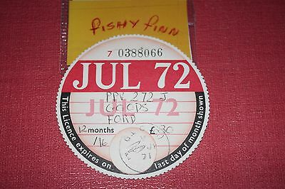 tax disc/collectable/expired road tax/road fund JUL 1972~~~@~~~~ FORD ~~