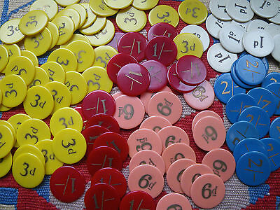 120 Vintage Bakelite Gaming Counters~Casino~Poker Chips~Shillings/pennys
