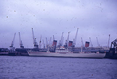 35mm SLIDE :  MARITIME : THREE FUNNEL LINER DOCKED AT SOUTHAMPTON 1965