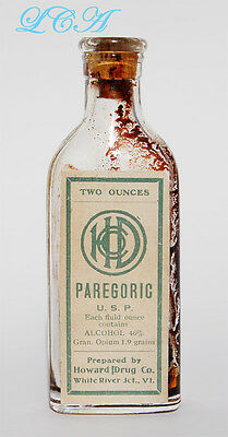 Antique OPIUM ALCOHOL mixture bottle of PAREGORIC White River VERMONT