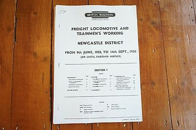 1958 Fascimilie Newcastle District Railway Freight Locomotive Engine Workings