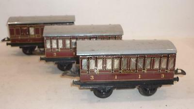 3 x HORNBY O gauge LMS COACHES - MAROON,                                       b