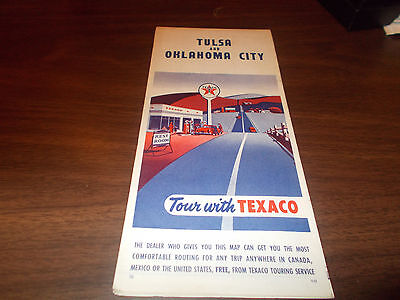 1955 Texaco Tulsa / Oklahoma City Vintage Road Map
