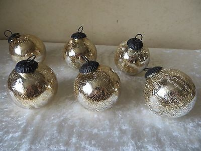 Gold Glass Crackle  Hanging Balls Antique Metal Loops Decorative