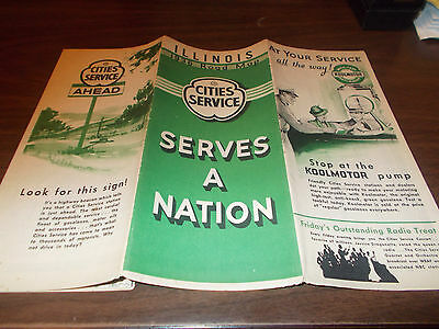 1936 Cities Service Illinois Vintage Road Map