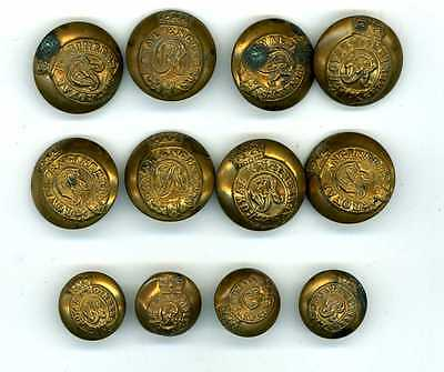 12 Royal Engineers Victorian Buttons -12 Brass (8 Large 4 Small)