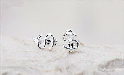 Shiny Solid 925 Sterling Silver Cute Small Dollar Sign Symbol Stud Earrings Gift