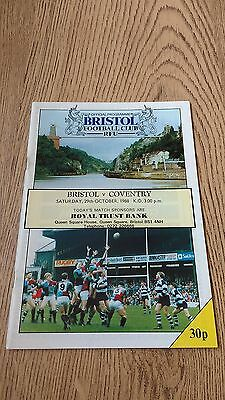 Bristol v Coventry Oct 1988 Rugby Union Programme
