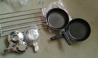 camping grill and pans