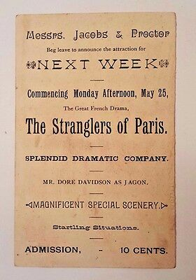 1880s Drama Play Trade Card Jacobs & Proctors Museum NY The STRANGLERS OF PARIS