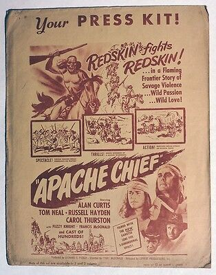"S442. Vintage: ""APACHE CHIEF"" Lippert Productions Press Kit (1949) ALAN CURTIS"