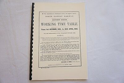 1898 North Easern Railway Southern Division Working Timetable Reprint