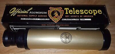 RARE Vintage Official Boy Scout of America BSA aluminum telescope with box 6x