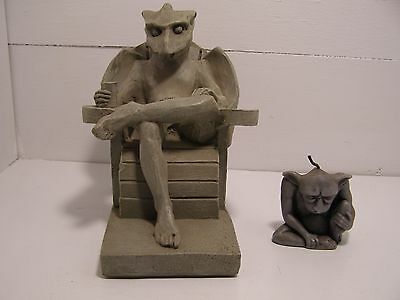 "Lawnchair Gargoyle resin figure, measures 7.5 x 7.5 x 5"" and little buddy candle"