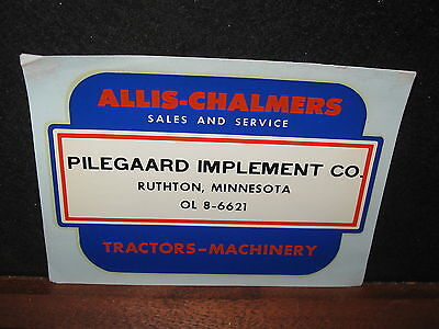Vintage Old Allis Chalmers Tractors Pilegaard Implement Co Ruthton MN Adv Decal