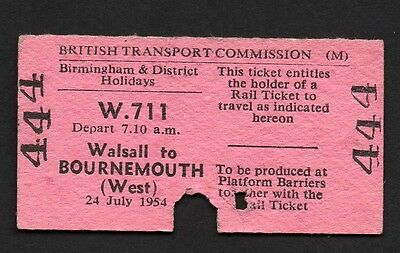 RAILWAY TICKET - WALSALL to BOURNEMOUTH WEST  1954