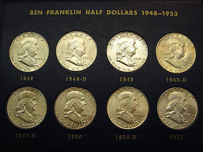 Complete Franklin Silver Half Dollar Set 1948-1963 Mostly AU & BU Whitman Album