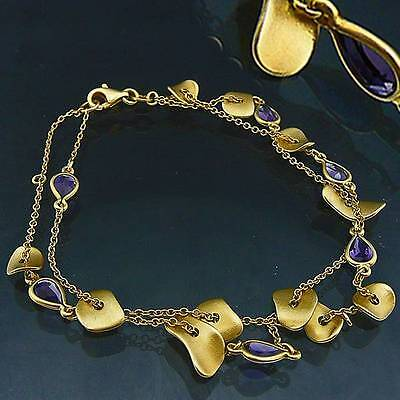 Most unusual BESPOKE Blue SAPPHIRE 18ct Solid Yellow GOLD BRACELET 7gm