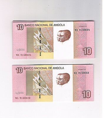 Angola New  Not In Pick 100 X 10 Kwanzas 2012 Bundle  Unc Consecutive Numbers