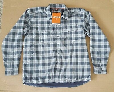 Simms COLDWEATHER Long Sleeve Shirt ~ Gray Plaid NEW ~ Size 2XL ~ CLOSEOUT