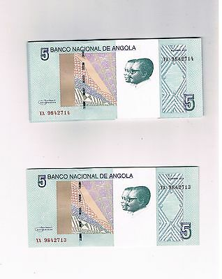 Angola New  Not In Pick 100 X 5 Kwanzas 2012 Bundle Unc Consecutive Numbers
