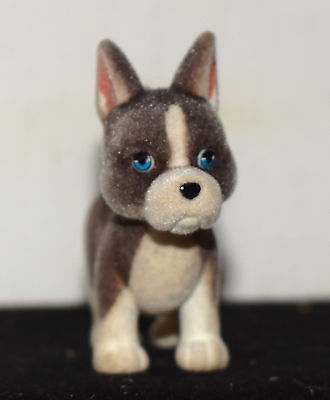 """Estate=Flocked Grey/White Pit Bull Pup 2"""" T x 2-1/2""""  For Play, Display, Village"""