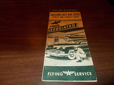 1950 Associated/Flying A Oakland/East Bay Cities Vintage Road Map