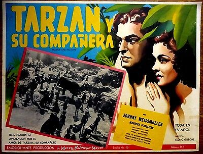 TARZAN AND HIS MATE '34 Mexican Lobby Card JOHNNY WEISSMULLER MAUREEN O'SULLIVAN