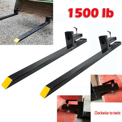 1500lb Capacity Clamp on Pallet Forks Heavy Duty Loader Bucket Skidsteer Tractor