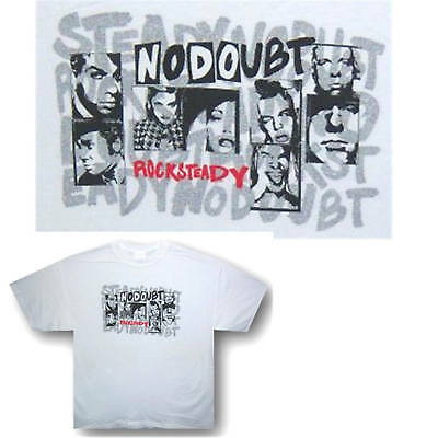 """No Doubt """"rock Steady"""" Block Pics White T-Shirt Large New!"""