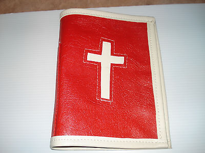 Vintage Antique 1960's Handmade Red & Off-White, Vinyl BIBLE Cover
