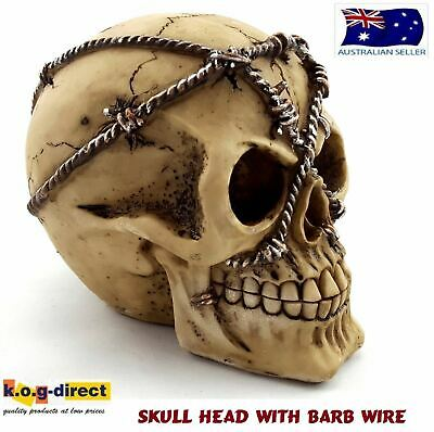 Gothic Skull Head Barbed Wire Halloween Statue Ornament New Skulhead
