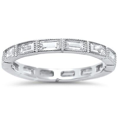 Antique Baguette CZ Eternity Stackable Band .925 Sterling Silver Ring Sizes 4-10