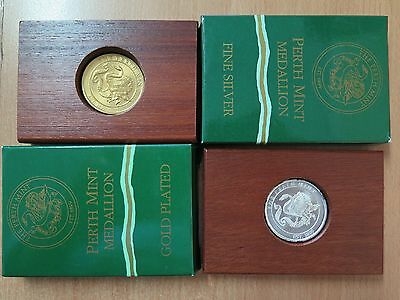 Perth Mint Swan Medallions x 2 - Silver and Gold Plated,New in BOXES