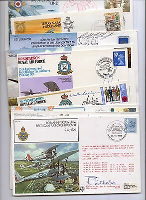 9 HAND SIGNED postal covers, mostly Military / RAF related, listed below