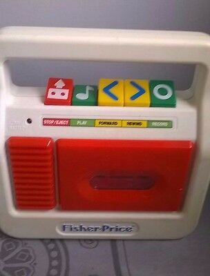 Vintage 1980's Fisher Price Audio Cassette Tape Player / Recorder - Red. Working