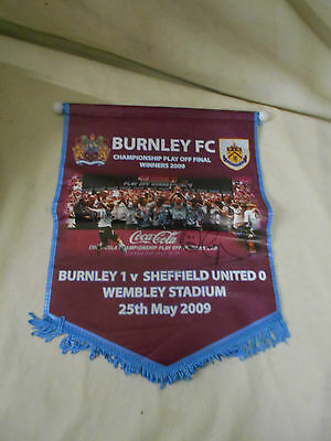 RARE Fully Signed Original PENNANT Genuine BURNLEY Signature 2009 Play Offs