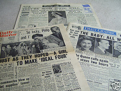 3 16th August 1950 Original UK newspapers, Birth of Princess Anne