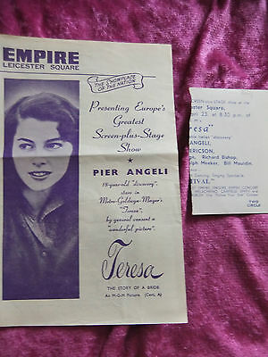 """1951 Screen Plus Stage Show. Empire, Leicester Square. Peir Angeli. """"teresa""""."""