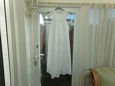 Antique Handmade White Cotton Baby Christening Gown........ 40 Inch Length..