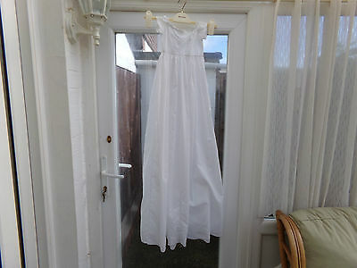 Antique Handmade White Cotton Baby Christening Gown........ 42 Inch Length..