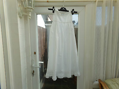 Antique Handmade White Cotton Baby Christening Gown........ 36 Inch Length..